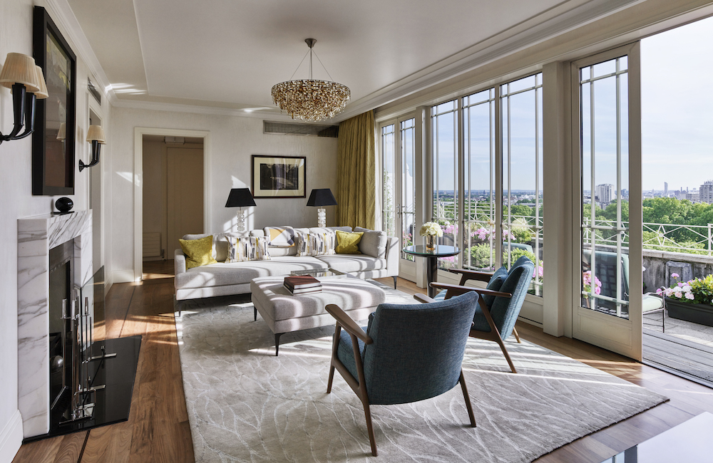 Image caption: The living room inside The Dorchester's Terrace Penthouse