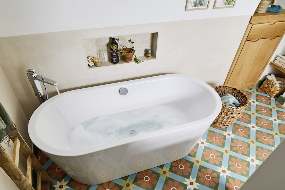 luxe bath on colourful tiles