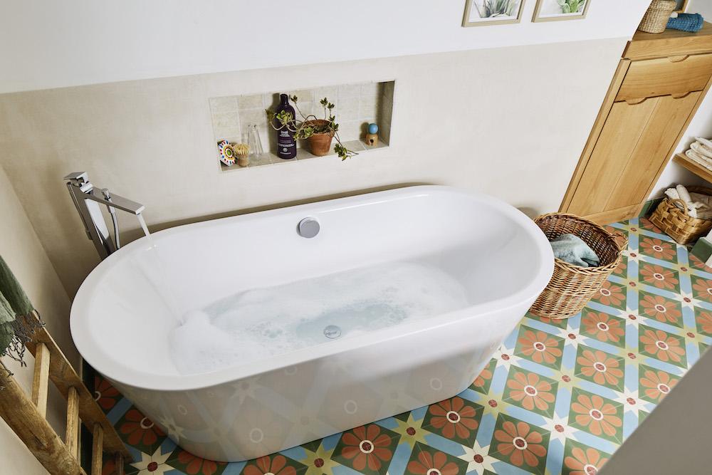 luxe bath on colourful tiles