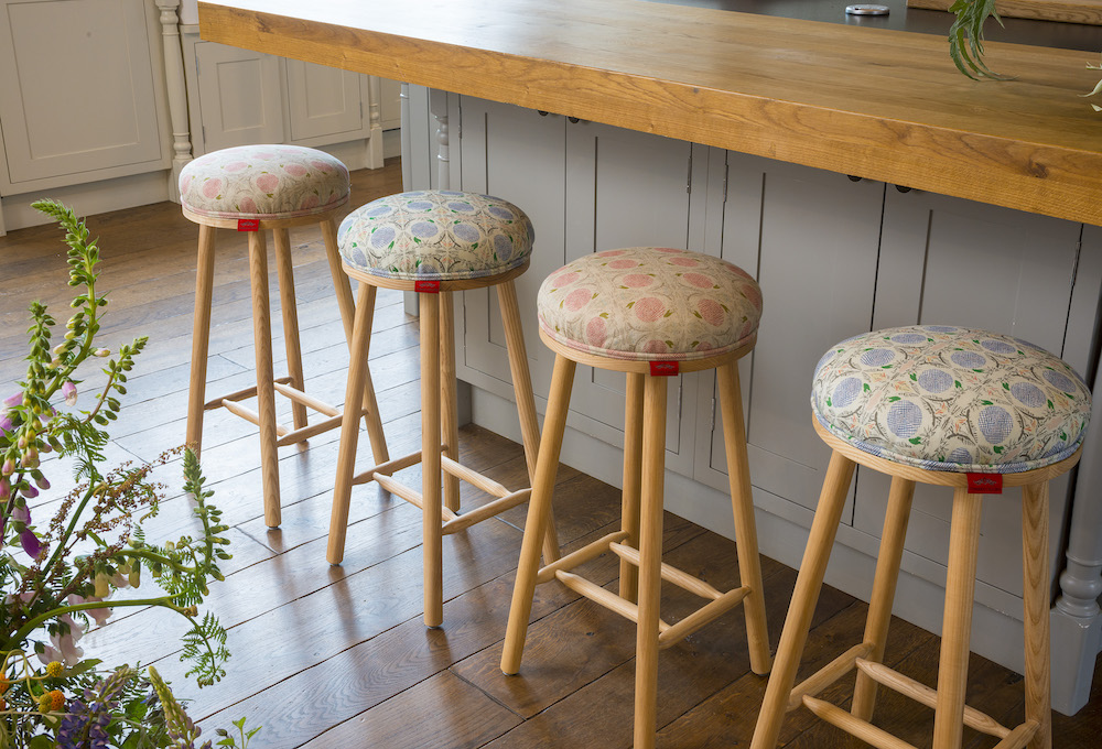Image caption: Residential-style bar stools injected with an upholstered pop of personality | Image credit: Cheeky Chairs