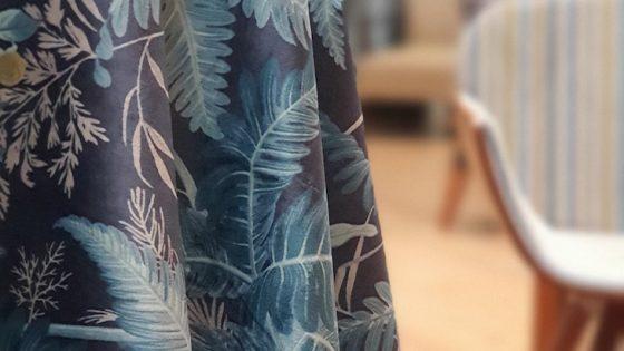 Velvet, patterned curtain