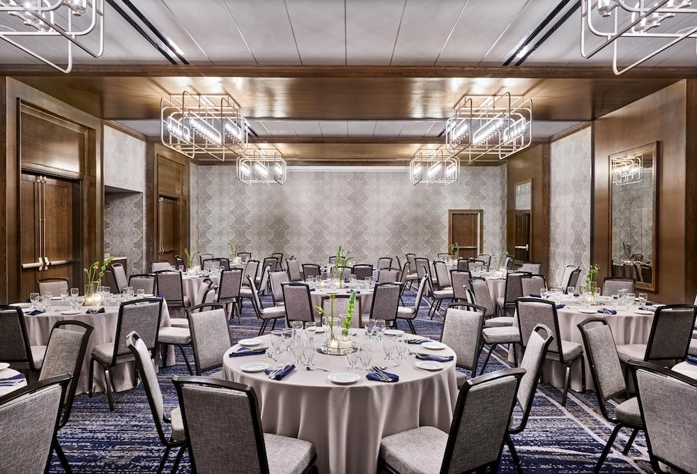 Chandelier lighting in ballroom