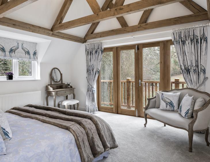 Wooden trendy beams in homely room