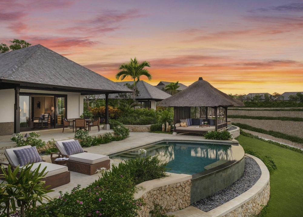 sunset overlooking villas at Raffles Bali