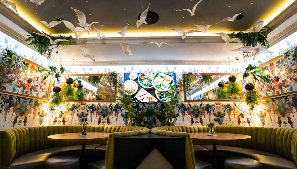 Birds and nature inspired interiors in restaurant