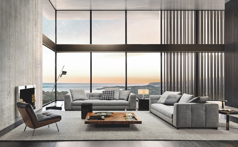 Striking interior setting featuring Minotti seats