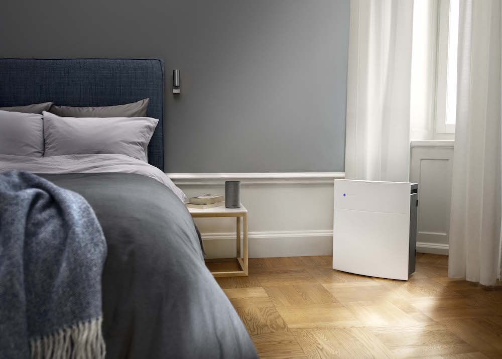 Air purifier by the bed