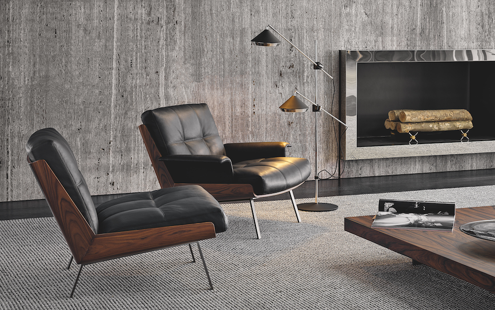 Lifestyle shot of Minotti armchairs