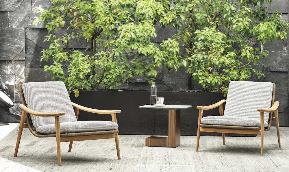 Low reclined outdoor chairs by Minotti