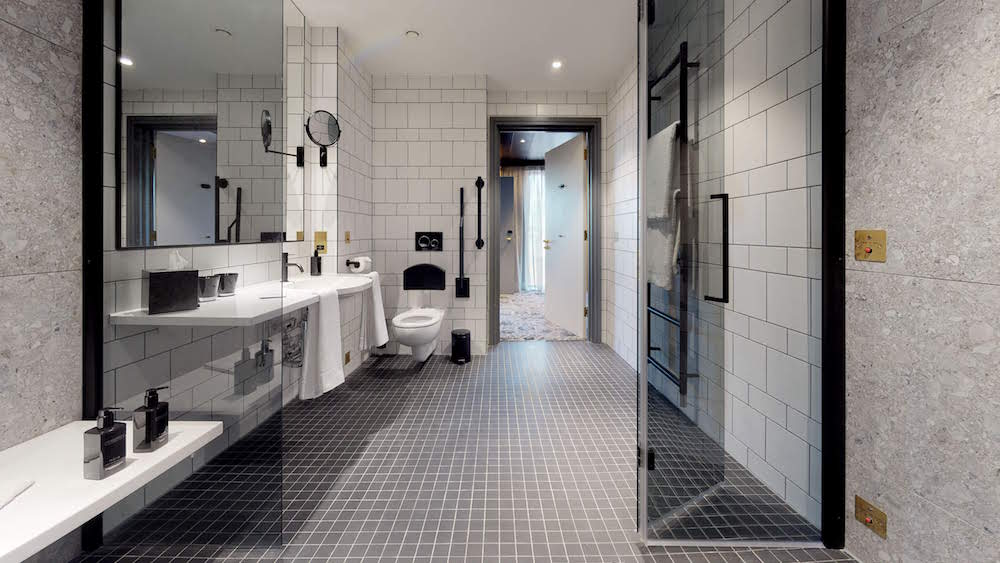 Accessible, well-designed large bathroom inside Hotel Brooklyn