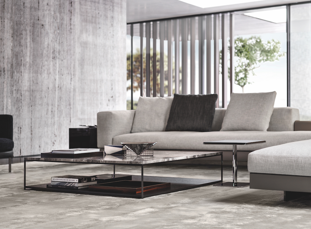 Contemporary low table in front of Minotti sofa