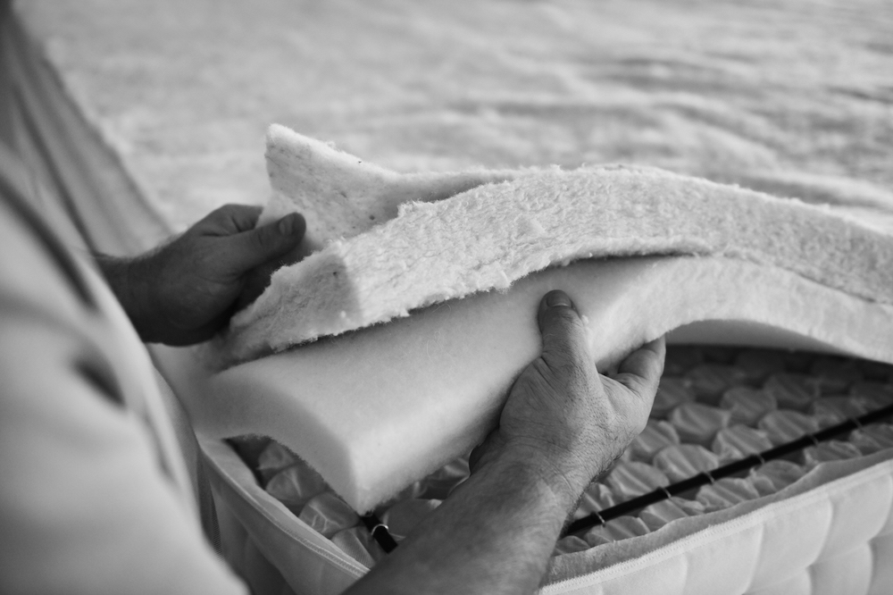 Black and white image of bed mattress filling