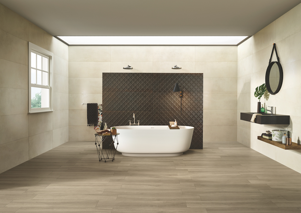 Image caption: The Metallic collection by CTD Architectural Tiles in bathroom setting
