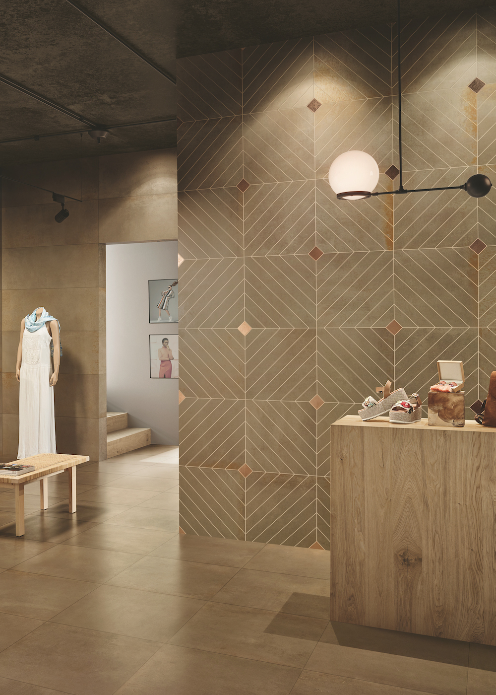 Image caption: The Metalic collection by CTD Architectural Tiles in retail setting