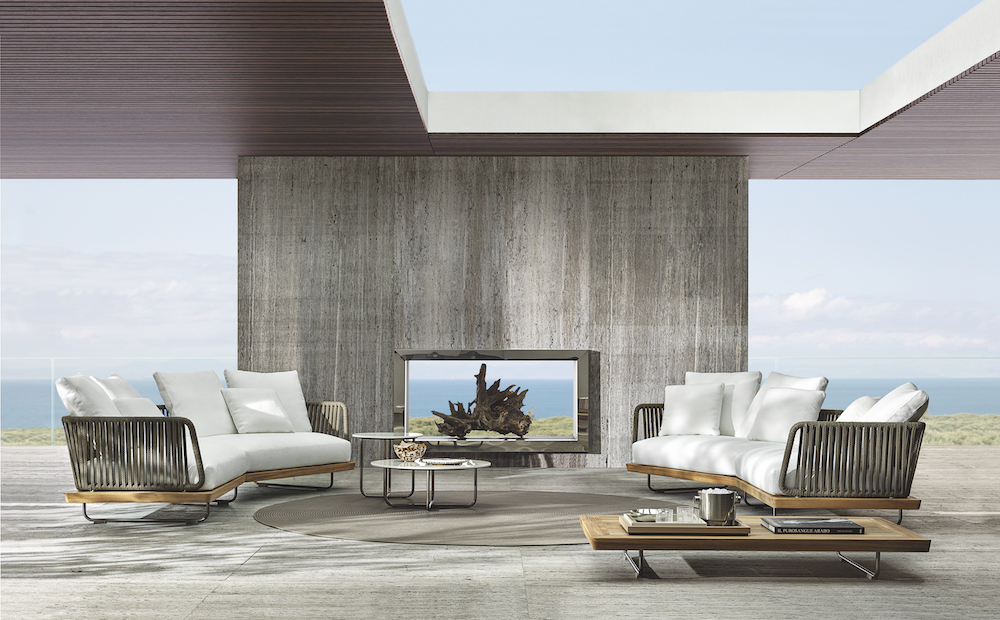 Lifestyle shot featuring Minotti sofas outside