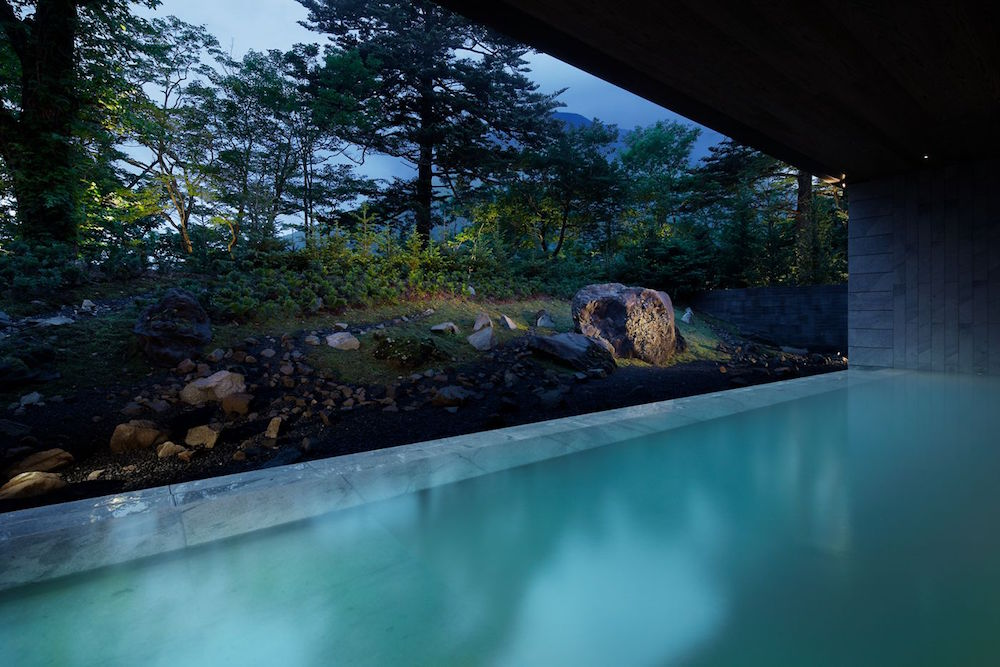 A pool looking out to nature at night