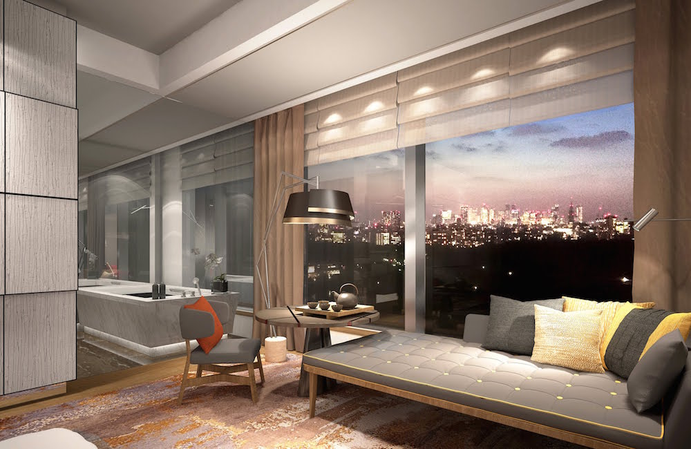 a modern suite overlooking Tokyo