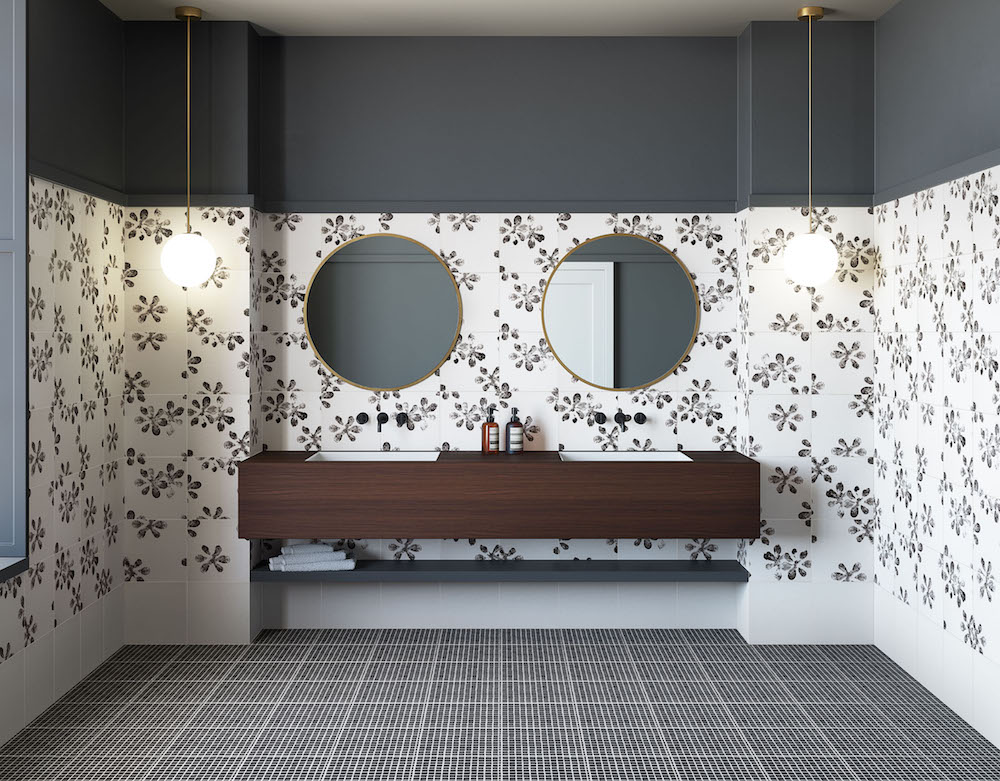 monochrome walls and floors in modern bathroom