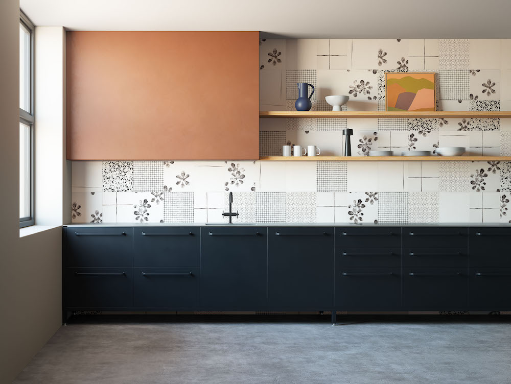 Modern kitchen with cream and black tiles