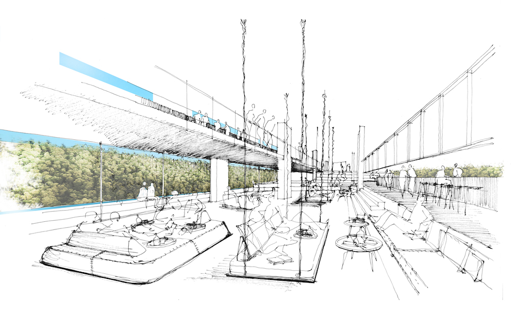 Image caption: An original sketch of the hotel's public area