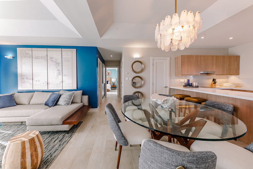 Image caption: The clean design of the interiors feature interesting lighting, natural materials and a large nautical map of the region. | Image credit: The Point