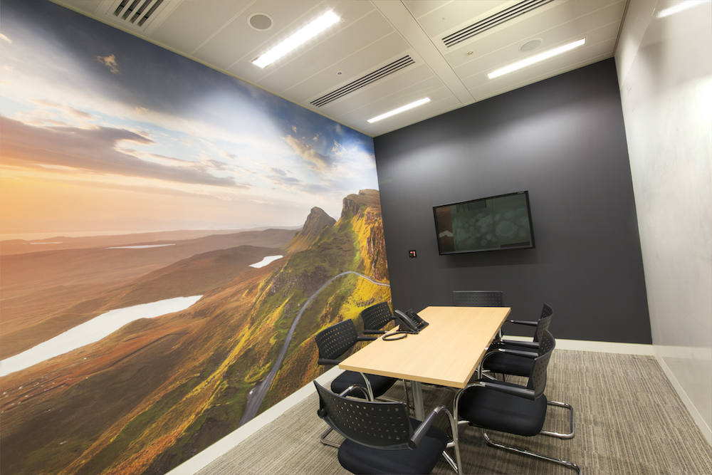 An office with a wallcovering of hills