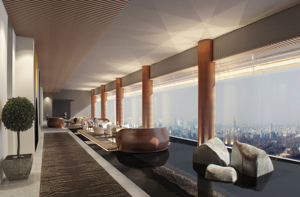 Render of minimalist reception overlooking city of Tokyo