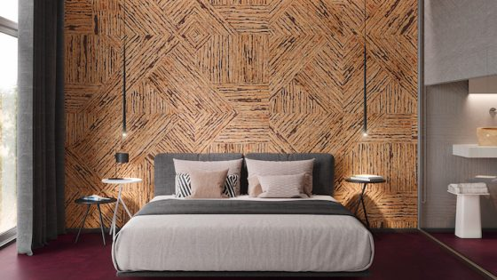 Cork wall in a guestroom