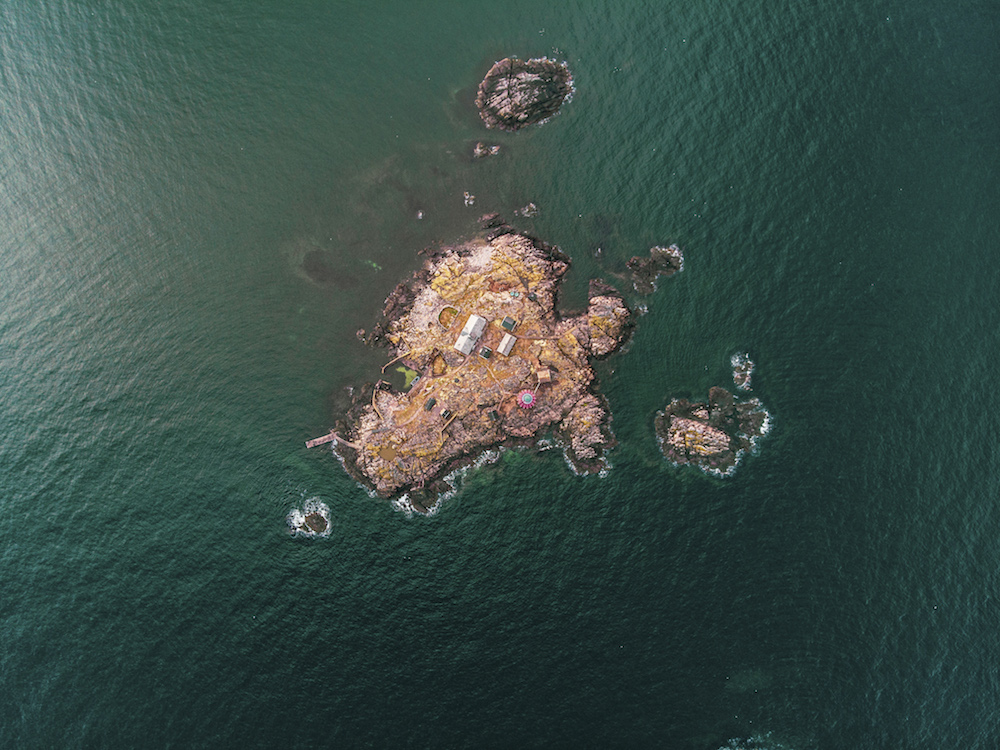 An arial view of the island