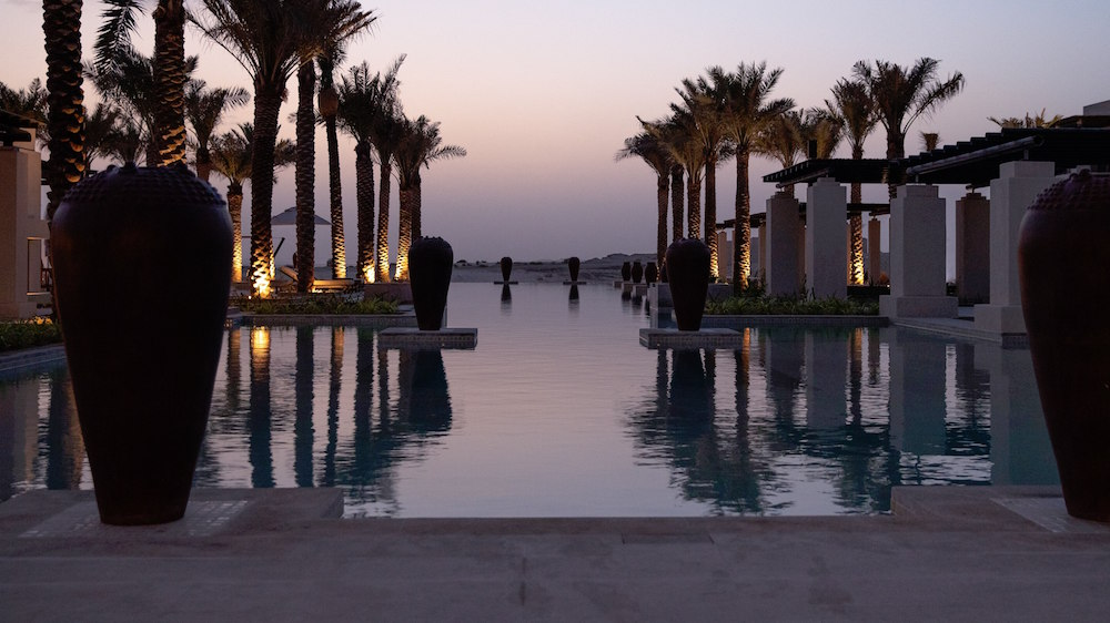 Luxury pool with palm trees in the desert