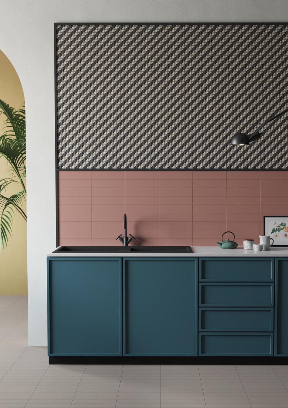 A modern kitchen with pastel surfaces