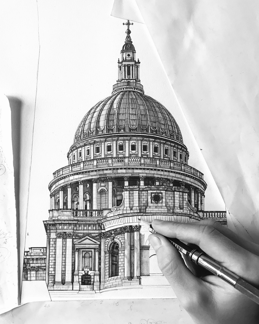 Black and white art drawing of st pauls in London