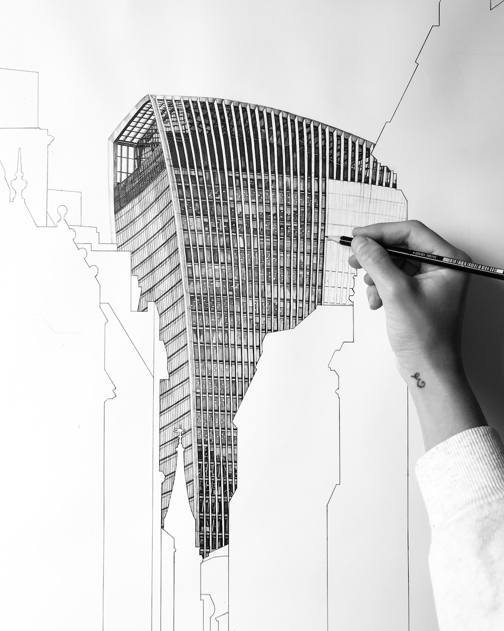 Black and white art drawing of Walkie-Talkie building in London