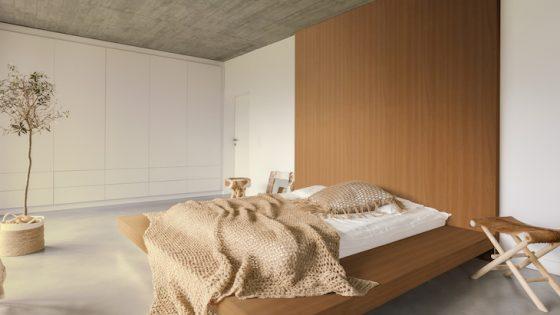 Image of minimalist bedroom with earthy tones