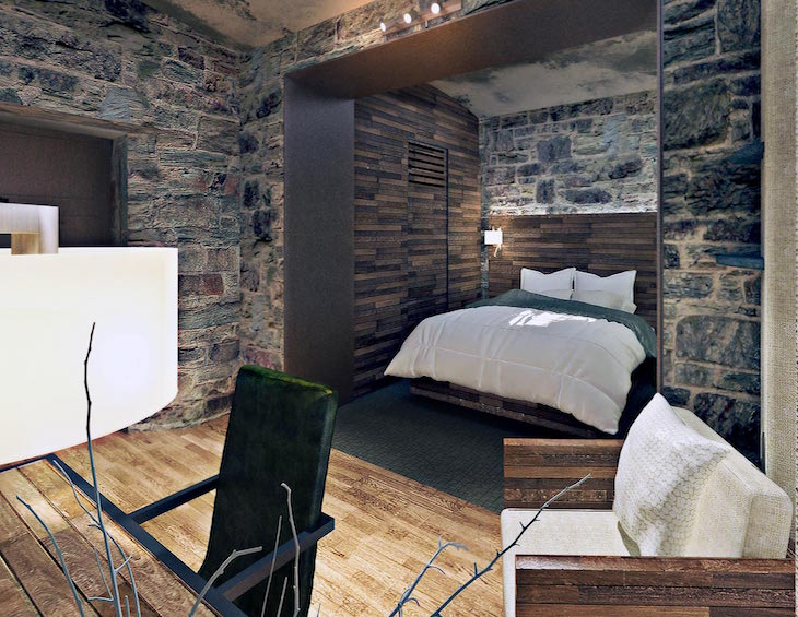 A render of a guestroom inside a former jail