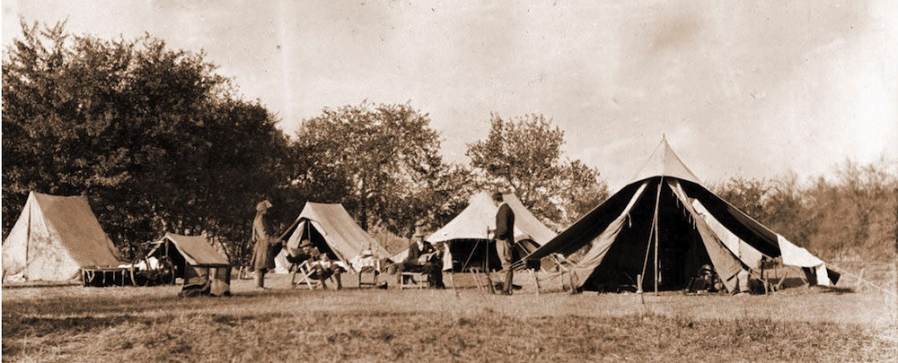 Black and white image of tents