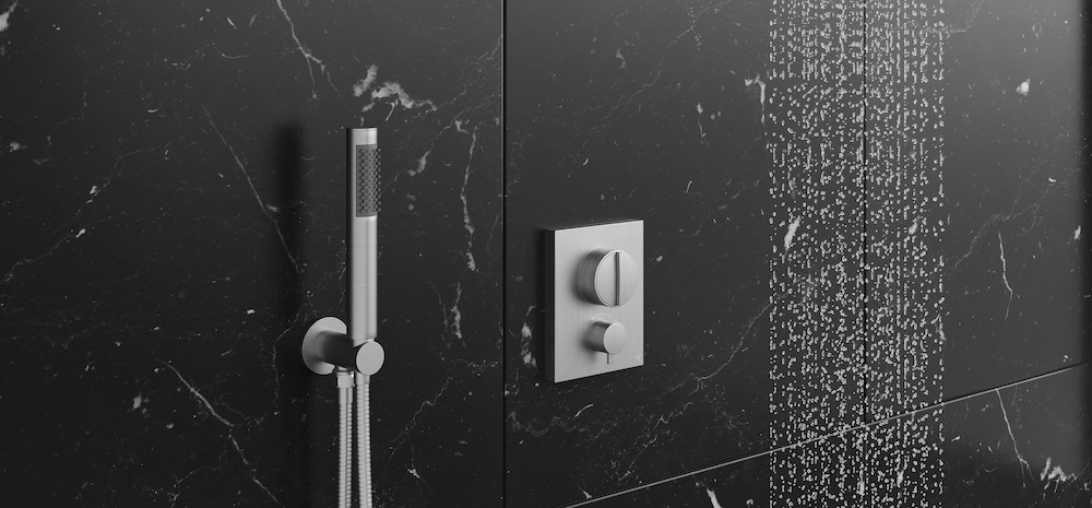 A black bathroom with modern Crosswater shower outlet