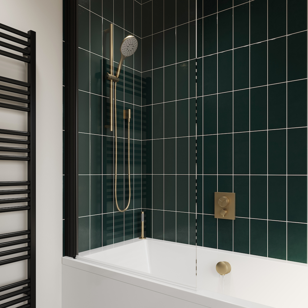 A dark green modern shower featuring Crosswater Shower Outlets