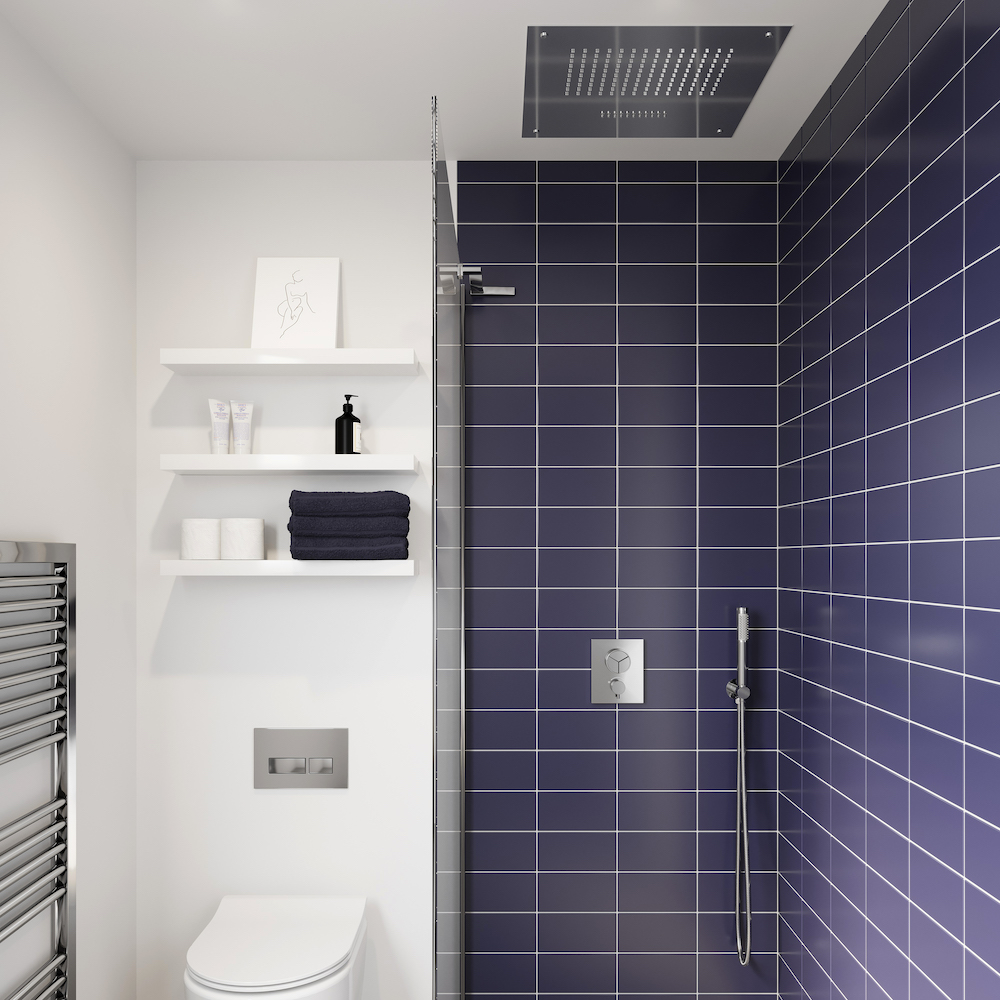 A dark blue and white modern shower featuring Crosswater Shower Outlets
