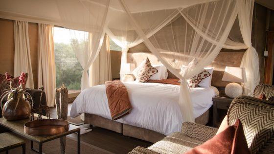 A safari accomodation tent in the dessert