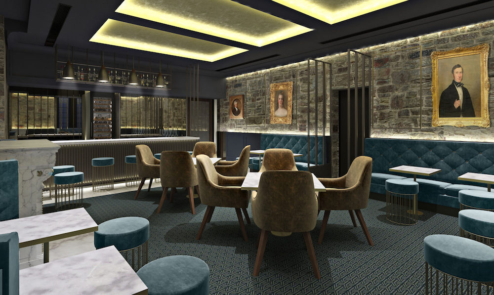 A render of a contemporary restaurant inside Bodmin Jail Hotel