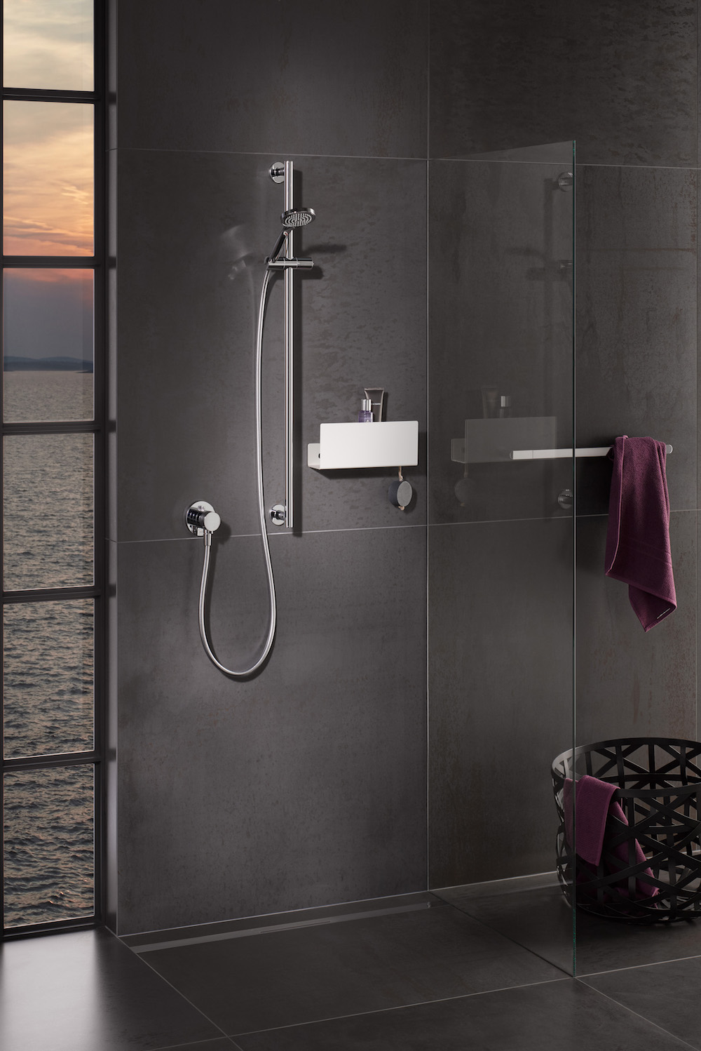 Image of a modern shower with black background