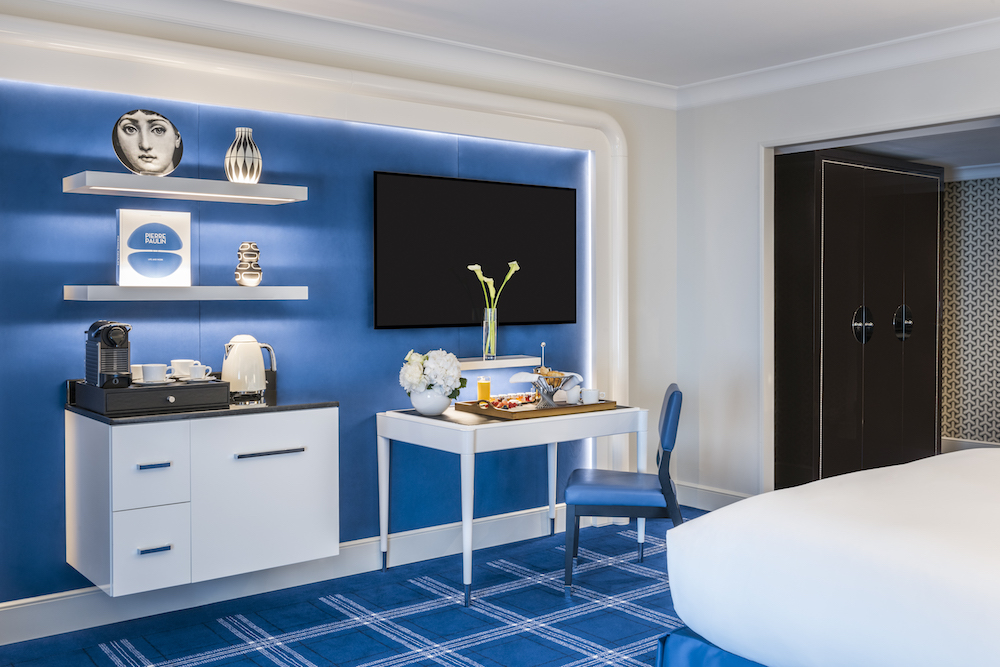 Image credit: Sofitel London St James blue guestrooms with tartan carpets and blue walls