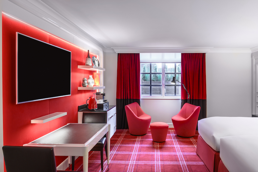 Sofitel London St James luxury twin room in red