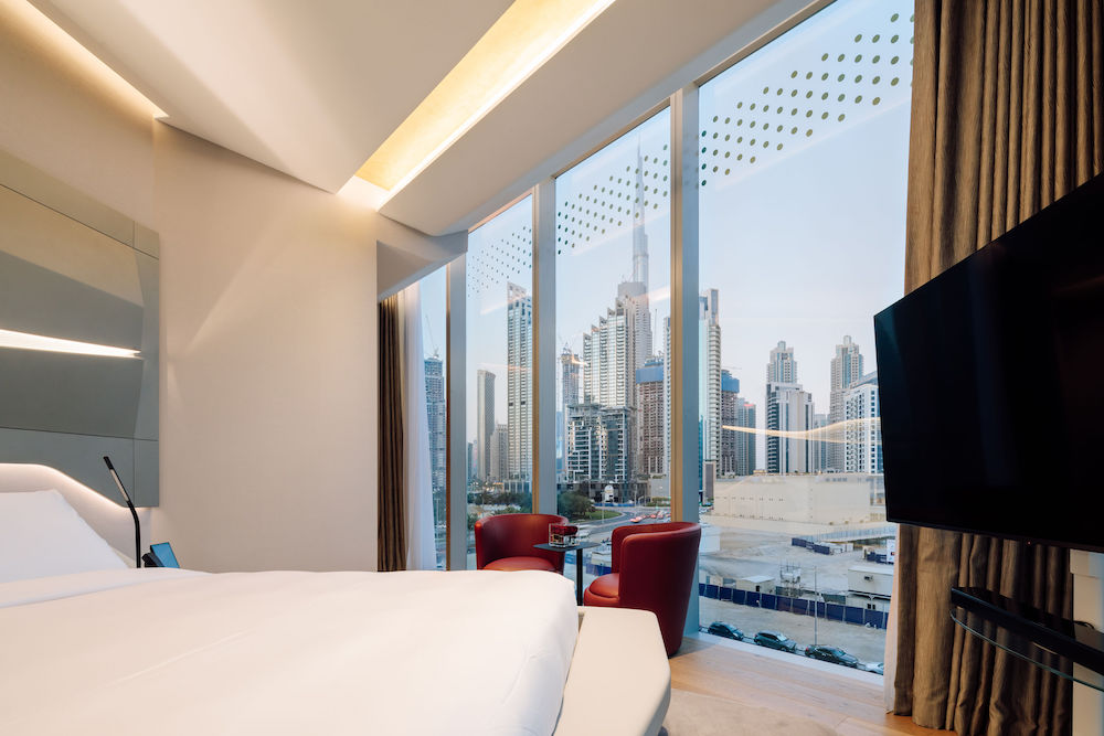 View from inside ME Dubai overlooking Dubai skyline