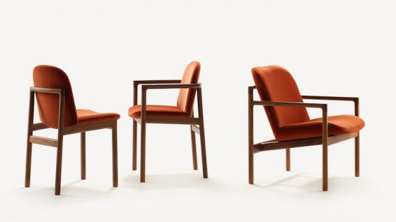A trio of modern maroon dining chairs from Morgan
