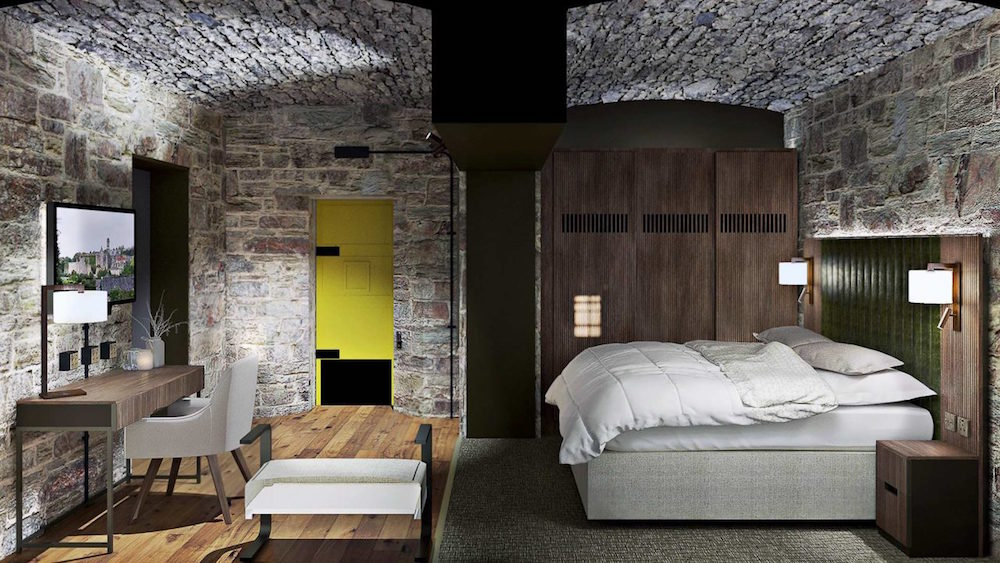 A cross section render of a guestroom inside Bodmin Jail Hotel