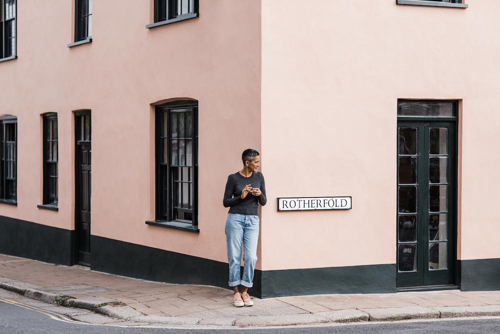 And image of Geetie Singh-Watson standing outside The Bull Inn in Totnes