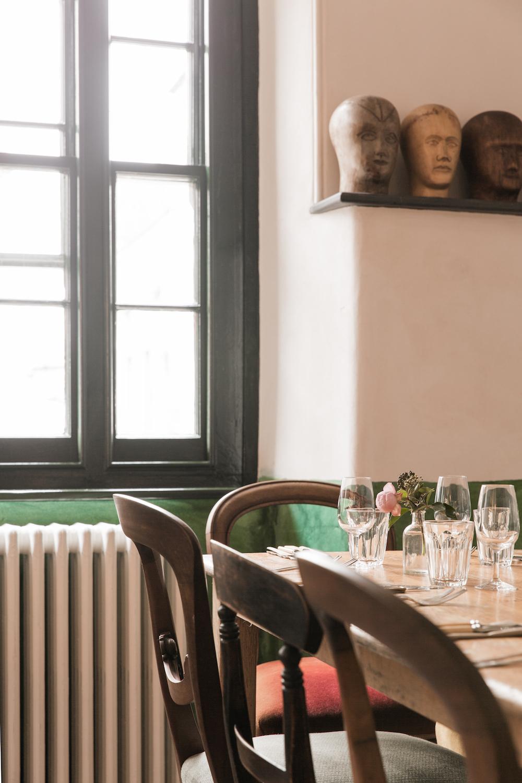 A rustic restaurant inside The Bull Inn in Totnes