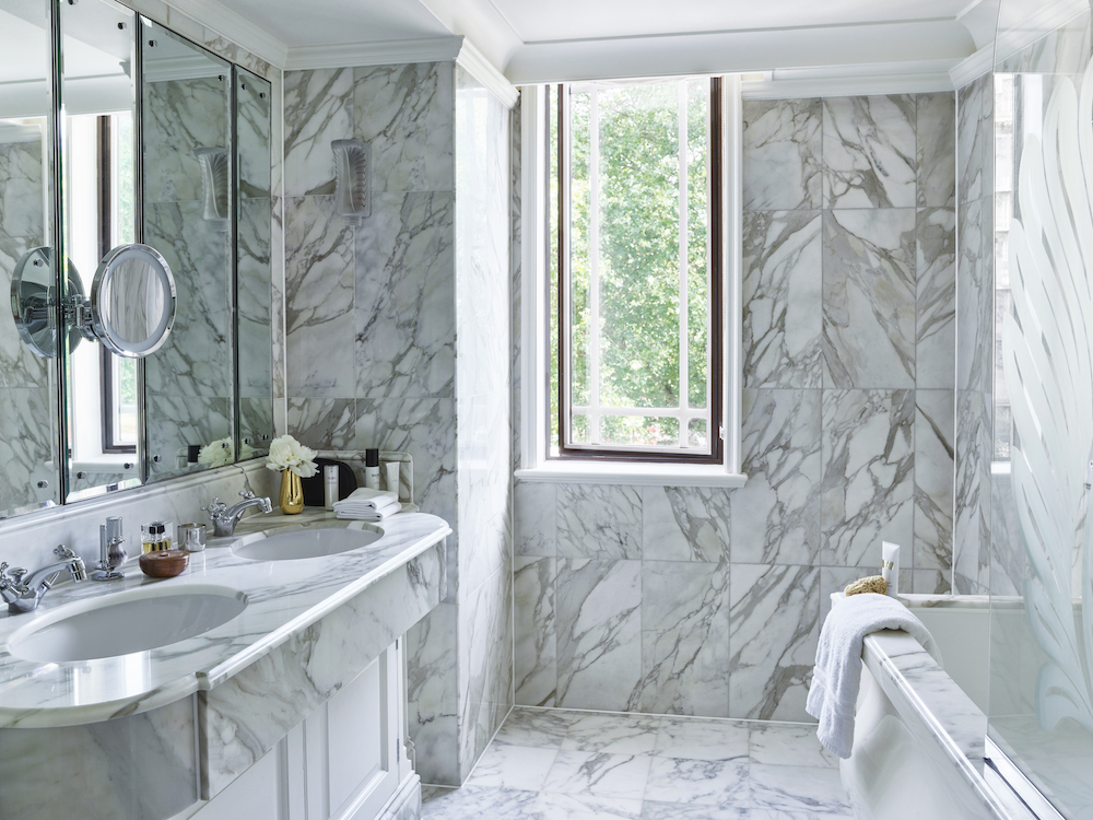 An all-marble bathroom inside one of the finest hotels in London